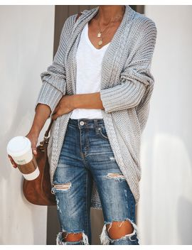 By The Book Knit Cardigan   Heather Grey by Vici