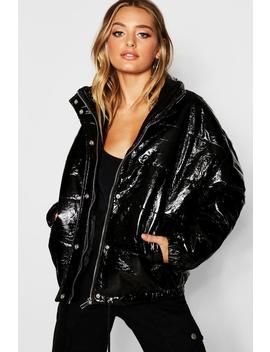 Patent Padded Jacket by Boohoo