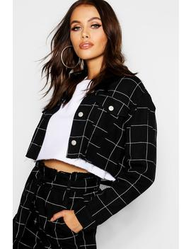 Window Pane Check Cropped Denim Jacket by Boohoo