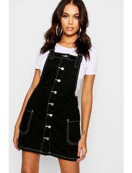Contrast Stitch Denim Dungarees Dress by Boohoo