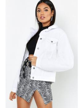 Teddy Sleeve White Denim Trucker Jacket by Boohoo