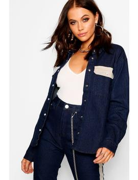 Contrast Pockets Denim Shirt by Boohoo