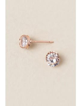 Bethany Cubic Zirconia Stud Earrings In Rose Gold by Francesca's
