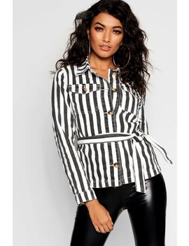 Stripe Belted Button Denim Shacket by Boohoo