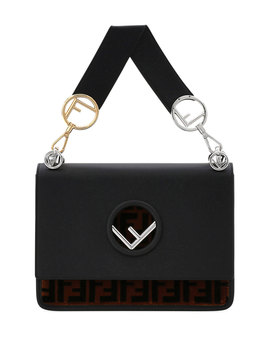 Kan I Logo Seal Leather & Ff Velvet Shoulder Bag by Fendi
