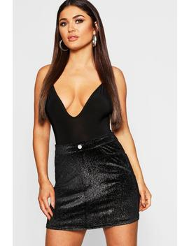 Stretch Shimmer Velvet Skirt by Boohoo