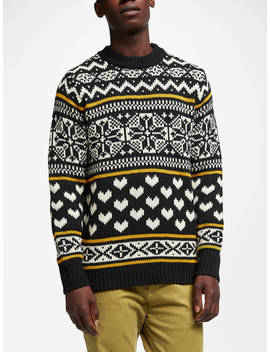 Scotch & Soda Chunky Fairisle Jumper, Black/Multi by Scotch & Soda