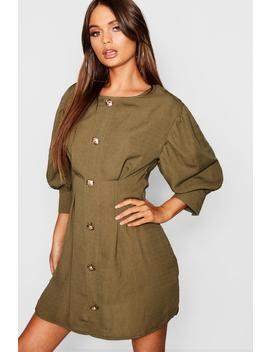 Gold Button Long Sleeve Mini Dress by Boohoo