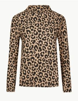 Cosy Animal Print Funnel Neck Top by Marks & Spencer
