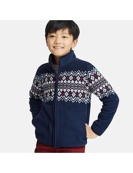 Kids Fleece Fair Isle Print Long Sleeved Jacket by Uniqlo