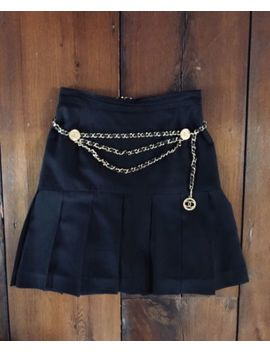 Authentic Black Chanel Carwash Pleated Skirt Vintage Size 34 36 by Chanel