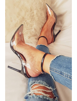 Black Clear Ankle Strap Pointed Court Shoe   Mycah by Rebellious Fashion