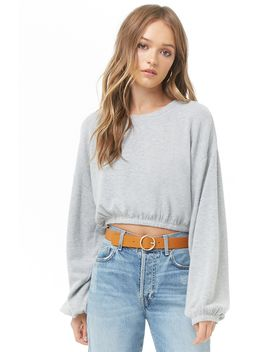 Brushed Balloon Sleeve Crop Top by Forever 21