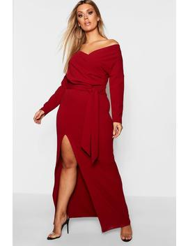 Plus Off The Shoulder Wrap Dress by Boohoo