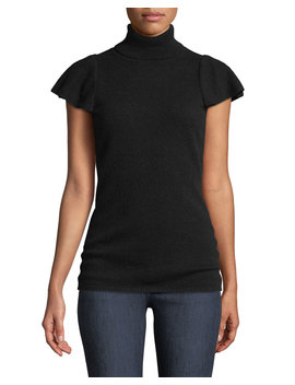 Cashmere Short Ruffle Sleeve Turtleneck Sweater by Neiman Marcus Cashmere Collection