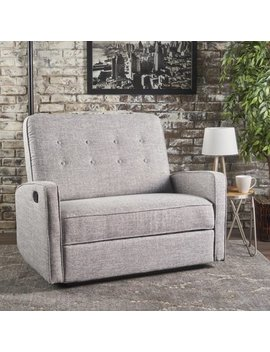 Noble House Capri Buttoned Tweed Fabric Reclining Loveseat,Light Grey by Noble House