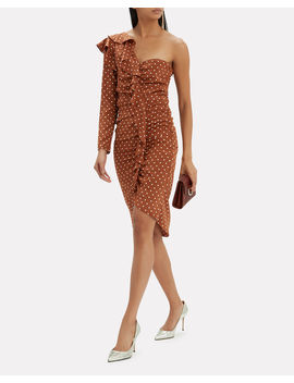 Leona One Shoulder Brown Polka Dot Dress by Veronica Beard