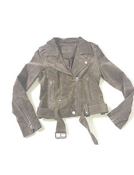 Blank Nyc Real Suede Leather Moto Jacket   Sand Stoner by Blank Nyc