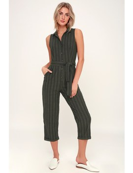 Exploring Olive Green Striped Button Up Cropped Jumpsuit by Lush