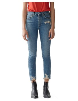 Jamie High Rise Distressed Skinny Jeans With Chewed Hem by Agolde