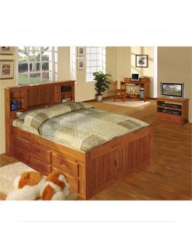 American Furniture Classics Full Sized Platform Bed With Bookcase Headboard And Six Drawers Of Storage In A Honey Finish. by Beds