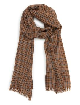 Drakes Plaid Merino Wool Scarf by Drake's