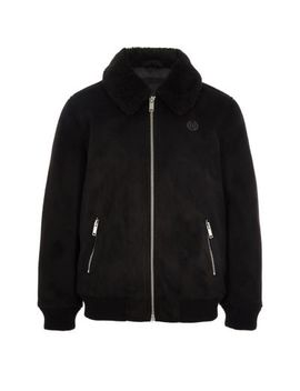 Boys Black Suedette Borg Collar Bomber Jacket by River Island