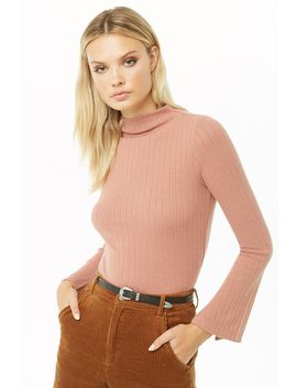 Brushed Ribbed Mock Neck Top by Forever 21