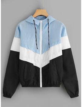 Color Block Hooded Jacket by Romwe