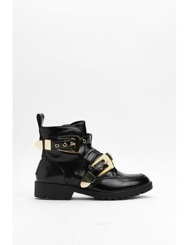 Chain Them Up Faux Leather Bootie by Nasty Gal