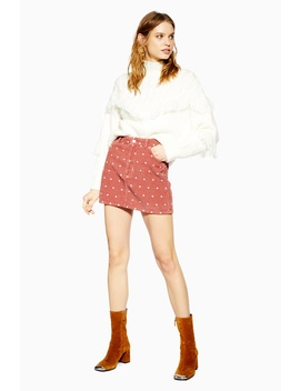Pink Spot Corduroy Skirt by Topshop