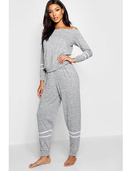Slash Neck Stripe Lounge Set by Boohoo