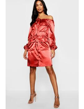 Tall Satin Bardot Utility Pocket Dress by Boohoo