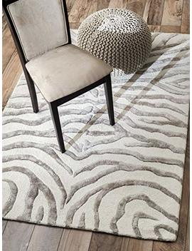 Nu Loom 200 Zf5 406 Handmade Alexa Animal Pattern Grey Zebra Wool/Viscose Rug (4 Feet X 6 Feet) by Amazon
