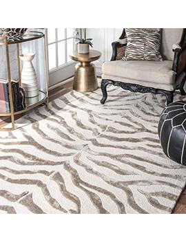 Nu Loom Handmade Alexa Animal Pattern Grey Zebra Wool/Viscose Rug (4' X 6') (200 Zf5 406) by Amazon
