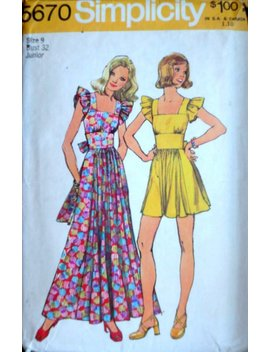 Vintage 70's Simplicity 5670 Sewing Pattern Juniors' Dress & Maxi Dress Size 9 32 Bust Retro Mod 1970's Fashion by Etsy