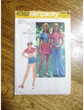 """Sexy 1970s Daisy Duke Bare Midriff Top, Hip Hugger Pants & Micro Mini Skirt   Size 8 (Bust 31.5"""")   Vintage Sewing Pattern Simplicity 6352 by Etsy"""