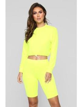 Yasmeen Short Set   Neon Yellow by Fashion Nova