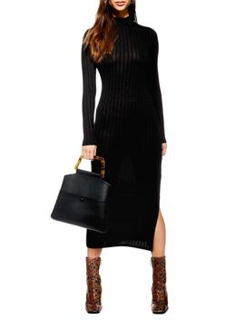 High Neck Ribbed Midi Dress by Topshop