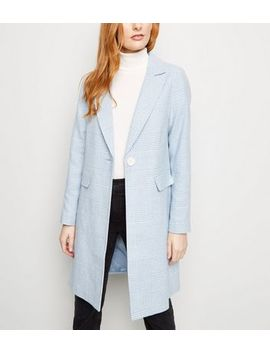 Pale Blue Houndstooth Check Print Longline Coat by New Look