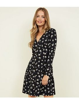 Black Floral Print Soft Touch Button Through Dress by New Look
