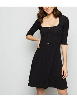 Black Ribbed Button Front Square Neck Skater Dress by New Look