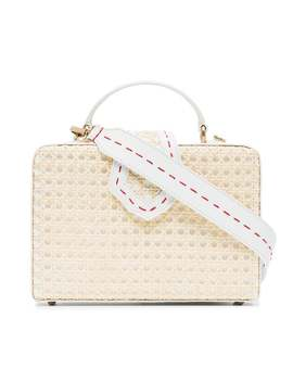 White Fey Large Leather Straw Box Bag by Mehry Mu