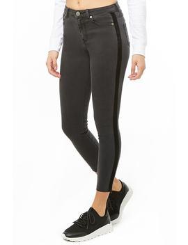 Velvet Striped Trim Jeans by Forever 21