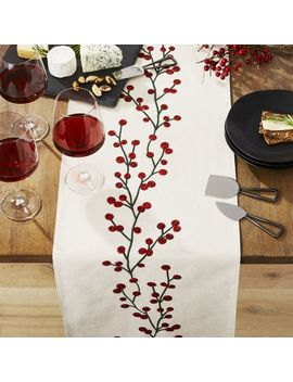 "Holiday Berries 90"" Embroidered Table Runner by Crate&Barrel"
