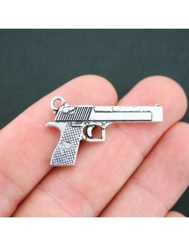 4 Gun Charms Antique Silver Tone 2 Sided   Sc5090 by Etsy