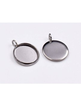 30 Pcs Stainless Steel Charms Bezel  Surgical Steel Bezel Charm Blank Cabochon Setting Round Pendant Blank Setting Round Cabochon Bezel Cup by Etsy