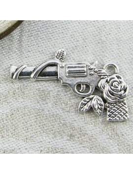 1 Or 9, Gun And Rose, Gun Charm, Rose Charm, Pistol Charm, Revolver Charm, Weapon, Silver Gun Charms, Sym034 by Etsy