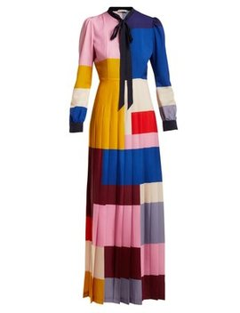 Duritz Colour Block Crepe De Chine Dress by Mary Katrantzou