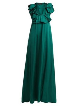 Ruffled Duchess Silk Satin Gown by Rochas